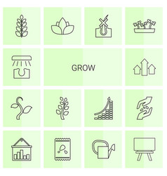 14 grow icons vector image