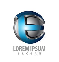 3d initial e letter logo concept design symbol vector image