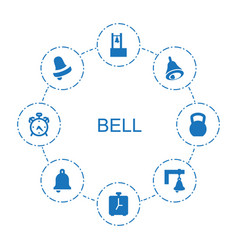 8 bell icons vector image