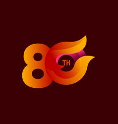 80 th anniversary celebrations orange template vector
