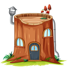 A log house on white background vector
