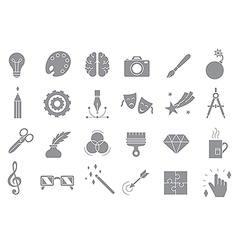 Art gray icons set vector image