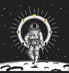astronaut spaceman cards moon phases planets vector image