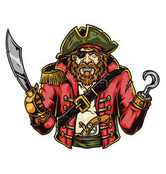 bearded pirate in cocked hat vector image