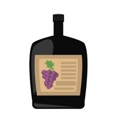 Big wine bottle liquid drink grape badge vector