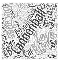 Cannonball run Word Cloud Concept vector