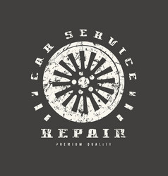 car service badge with shabby texture vector image