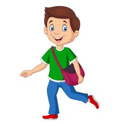 cartoon happy school boy carrying backpack vector image