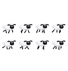 cartoon trotting sheep animation sprite isolated vector image