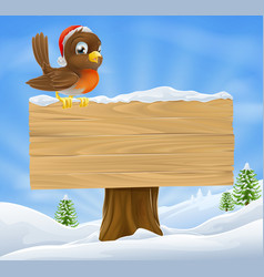 Christmas robin sign background vector