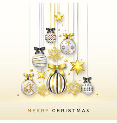 christmas tree background with shining snowflakes vector image