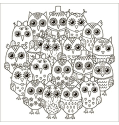 Circle shape pattern with cute owls vector image