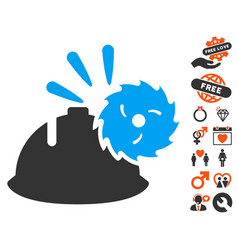Circular blade head protection icon with dating vector