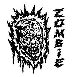 Creepy demon head vector