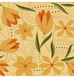 Crocuses seamless pattern yellow retro vector image