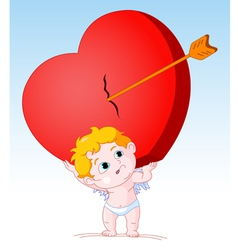 Cupid Holding Heavy Heart vector image