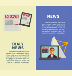 Daily news with modern technologies promotional vector