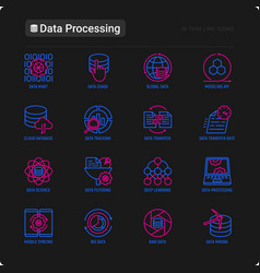 data processing thin line icons set vector image