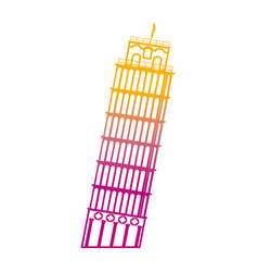 Degraded line leaning tower of pisa building vector