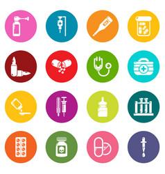 drug medicine icons set colorful circles vector image