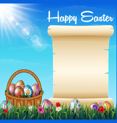easter background with decorated easter eggs on th vector image