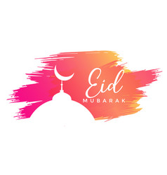 Eid mubarak design with watercolor strokes vector