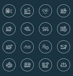 Engine icons line style set with seo training vector