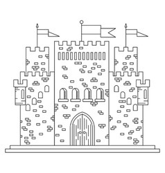 Fairytale royal thin line castle or palace vector image