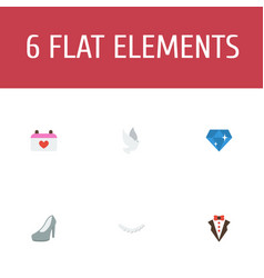 Flat icons sandal bridegroom dress jewelry vector