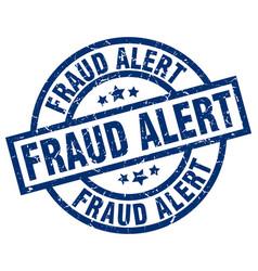 Fraud alert blue round grunge stamp vector