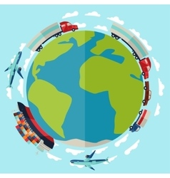Freight cargo transport background in flat design vector