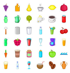 Fruit drink icons set cartoon style vector