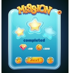Game window for mission completed computer app vector