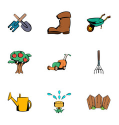 Gardening icons set cartoon style vector