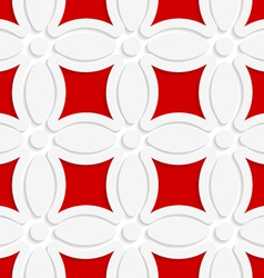 Geometric white pattern with red vector