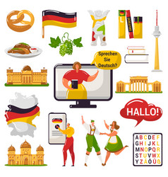 German learning and education or tourism travel vector