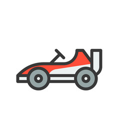 Go kart or racing car icon filled outline style vector