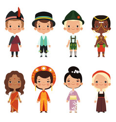 Happy kids of various nationalities vector