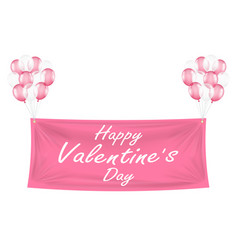 happy valentines day pink banner with balloons vector image
