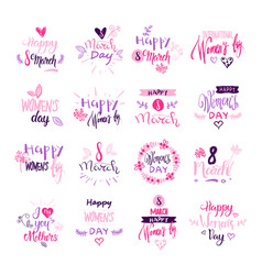 happy women day badges set creative pink lettering vector image