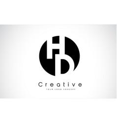 Hd letter logo design inside a black circle vector