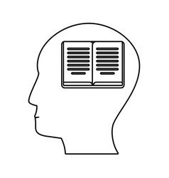 head profile book brain outline vector image
