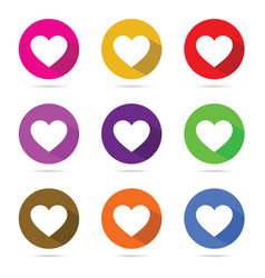 heart in color circle set vector image