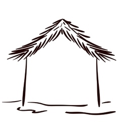 House silhouette of Merry Christmas vector image