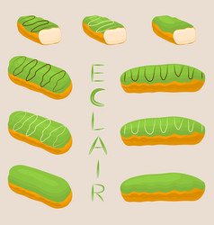 Icon logo for cake french eclair vector