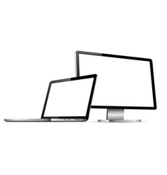 isolated computer display and laptop with empty vector image