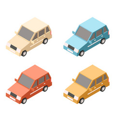 isometric car icons vector image vector image