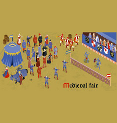 isometric medieval horizontal composition vector image