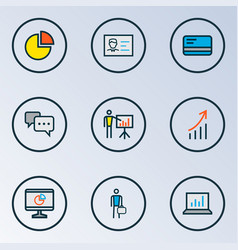 Job icons colored line set with introducing pie vector