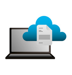 laptop cloud computing document file vector image